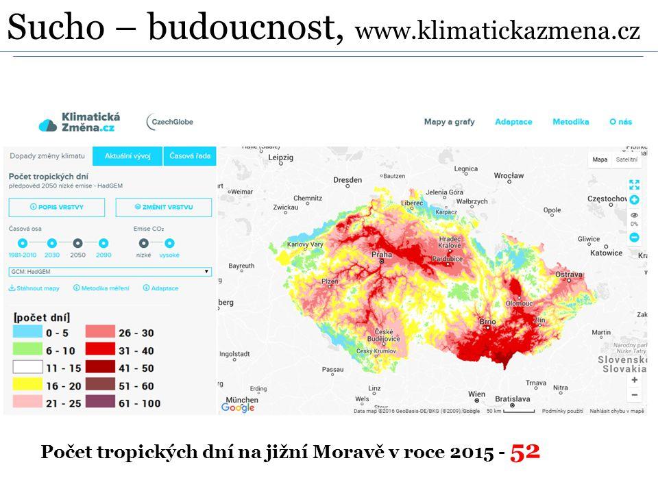 Počet tropických dní na jižní Moravě v roce 2015 - 52