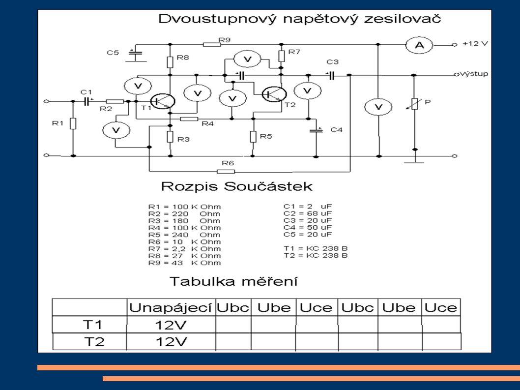 Úkol měření Základem měření je seznámit se s funkcí jednodu- chého elektronického obvodu, tj.