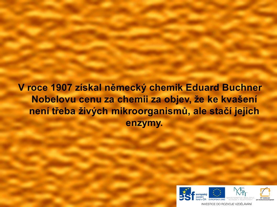 V roce 1907 získal německý chemik Eduard Buchner Nobelovu cenu za chemii za objev, že ke kvašení není třeba živých mikroorganismů, ale stačí jejich en