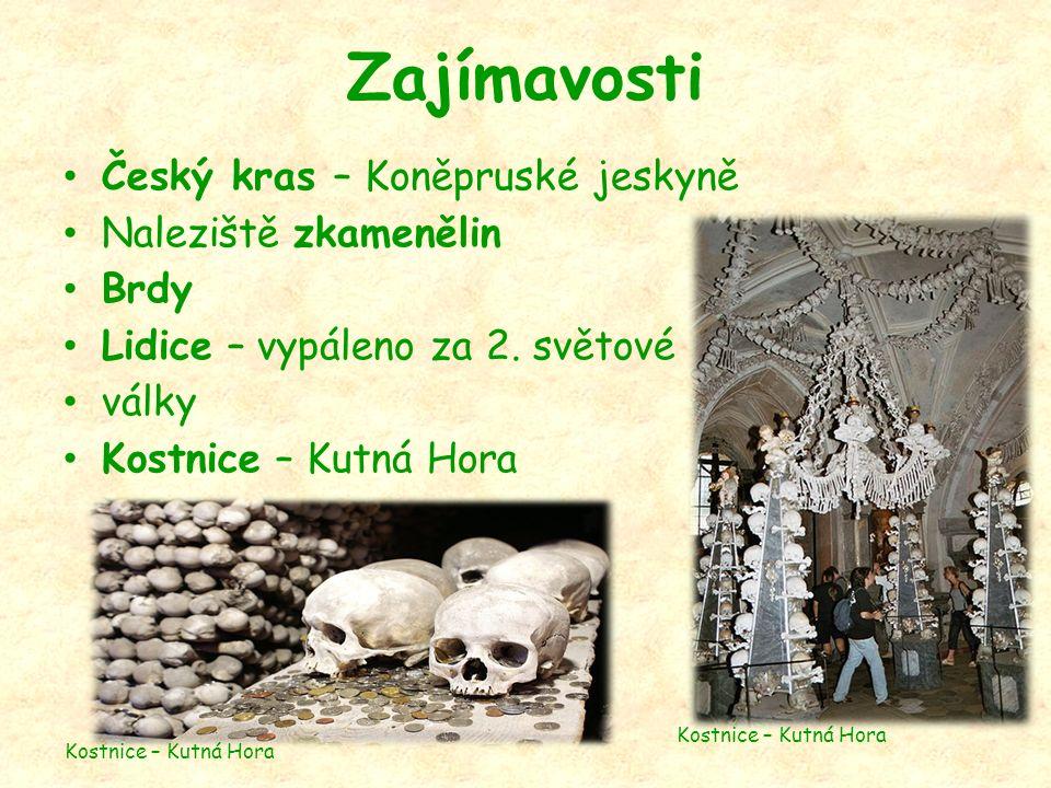 Zajímavosti Český kras – Koněpruské jeskyně Naleziště zkamenělin Brdy Lidice – vypáleno za 2.