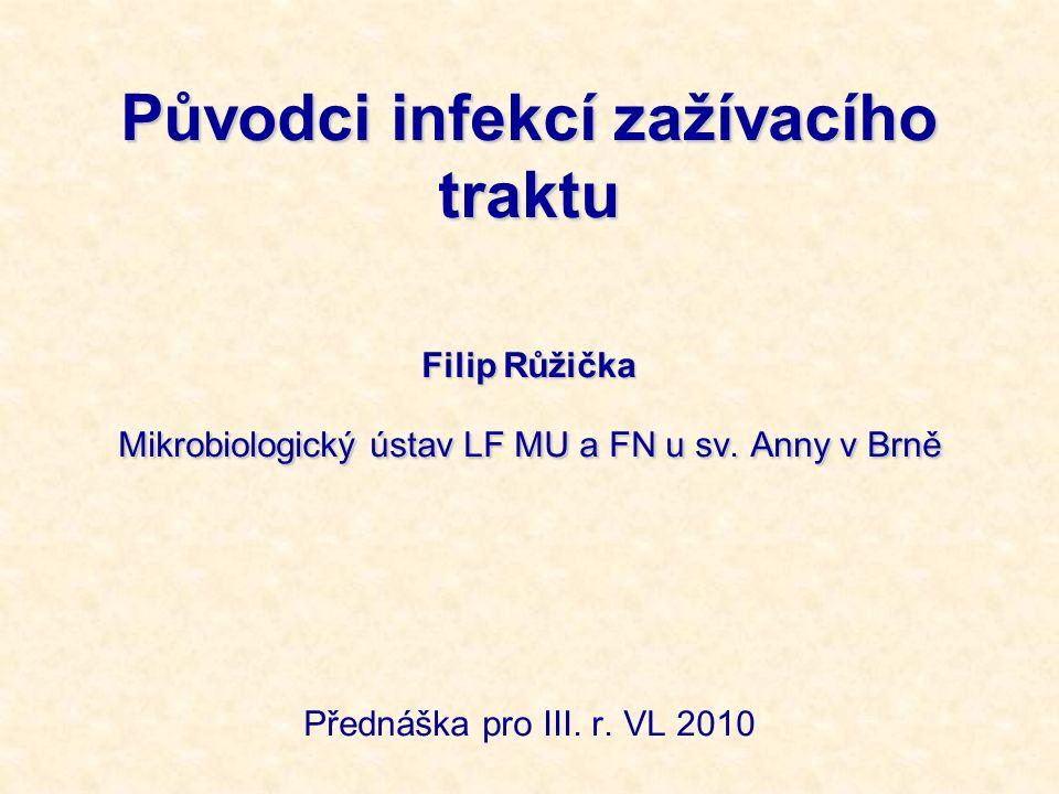 Původci infekcí zažívacího traktu Filip Růžička Mikrobiologický ústav LF MU a FN u sv. Anny v Brně Přednáška pro III. r. VL 2010