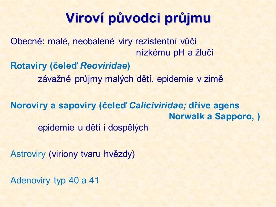 Viroví původci průjmu Obecně: malé, neobalené viry rezistentní vůči nízkému pH a žluči Rotaviry (čeleď Reoviridae) závažné průjmy malých dětí, epidemie v zimě Noroviry a sapoviry (čeleď Caliciviridae; dříve agens Norwalk a Sapporo, ) epidemie u dětí i dospělých Astroviry (viriony tvaru hvězdy) Adenoviry typ 40 a 41