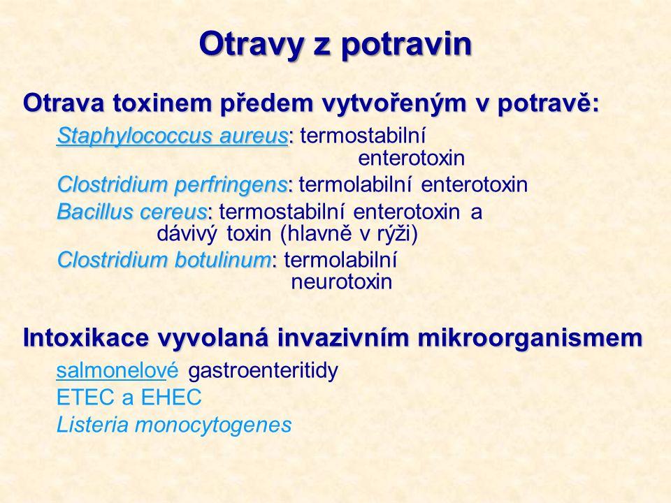 Otravy z potravin Otrava toxinem předem vytvořeným v potravě: Staphylococcus aureus: Staphylococcus aureus: termostabilní enterotoxin Clostridium perfringens: Clostridium perfringens: termolabilní enterotoxin Bacillus cereus: Bacillus cereus: termostabilní enterotoxin a dávivý toxin (hlavně v rýži) Clostridium botulinum: Clostridium botulinum: termolabilní neurotoxin Intoxikace vyvolaná invazivním mikroorganismem salmonelové gastroenteritidy ETEC a EHEC Listeria monocytogenes