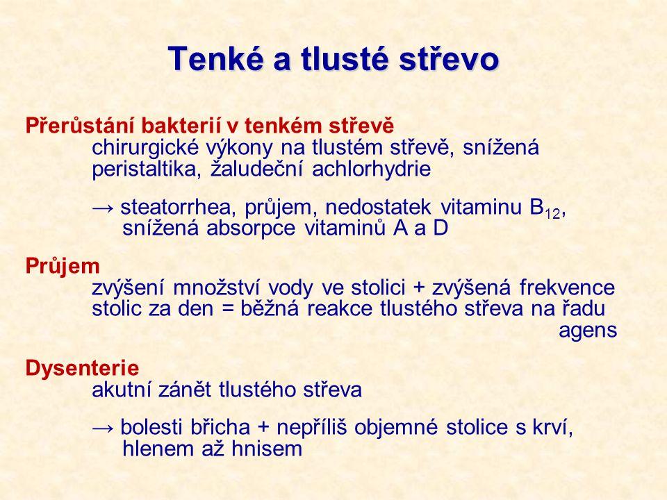 Tenké a tlusté střevo Přerůstání bakterií v tenkém střevě chirurgické výkony na tlustém střevě, snížená peristaltika, žaludeční achlorhydrie → steator