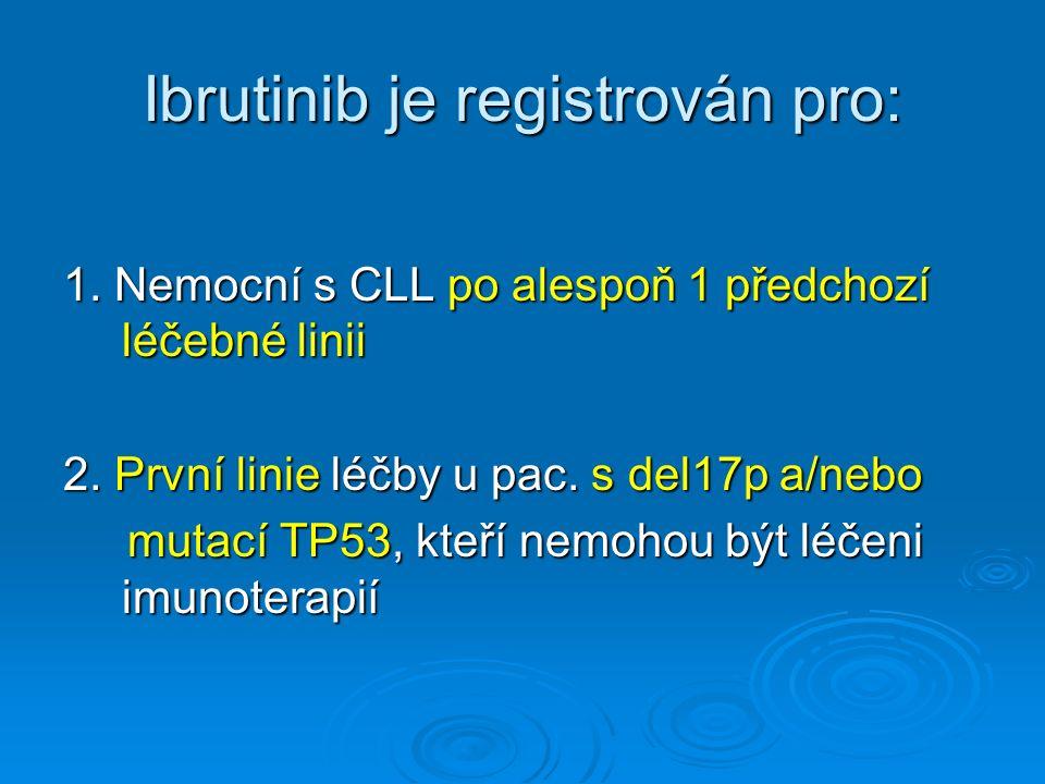 Ibrutinib je registrován pro: 1. Nemocní s CLL po alespoň 1 předchozí léčebné linii 2.