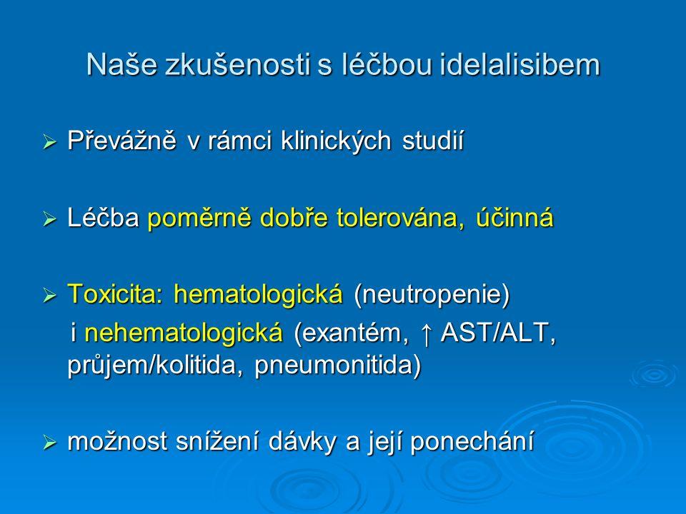 Naše zkušenosti s léčbou idelalisibem  Převážně v rámci klinických studií  Léčba poměrně dobře tolerována, účinná  Toxicita: hematologická (neutropenie) i nehematologická (exantém, ↑ AST/ALT, průjem/kolitida, pneumonitida) i nehematologická (exantém, ↑ AST/ALT, průjem/kolitida, pneumonitida)  možnost snížení dávky a její ponechání