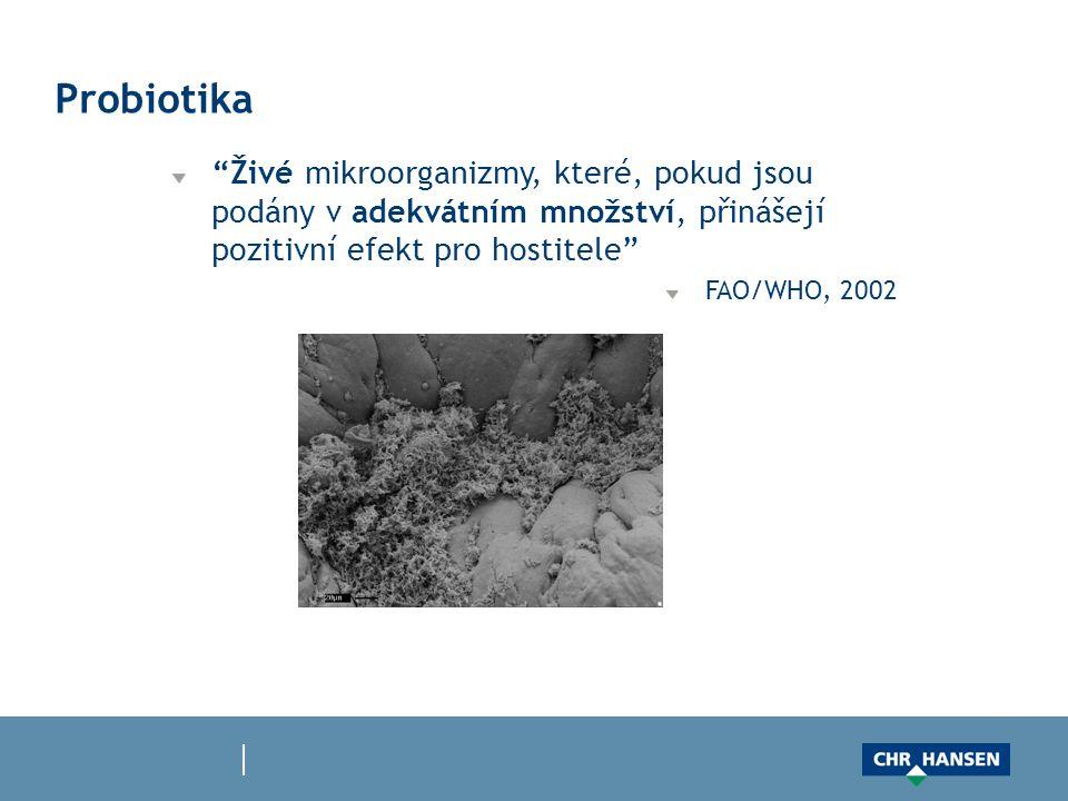 Probiotika Živé mikroorganizmy, které, pokud jsou podány v adekvátním množství, přinášejí pozitivní efekt pro hostitele FAO/WHO, 2002