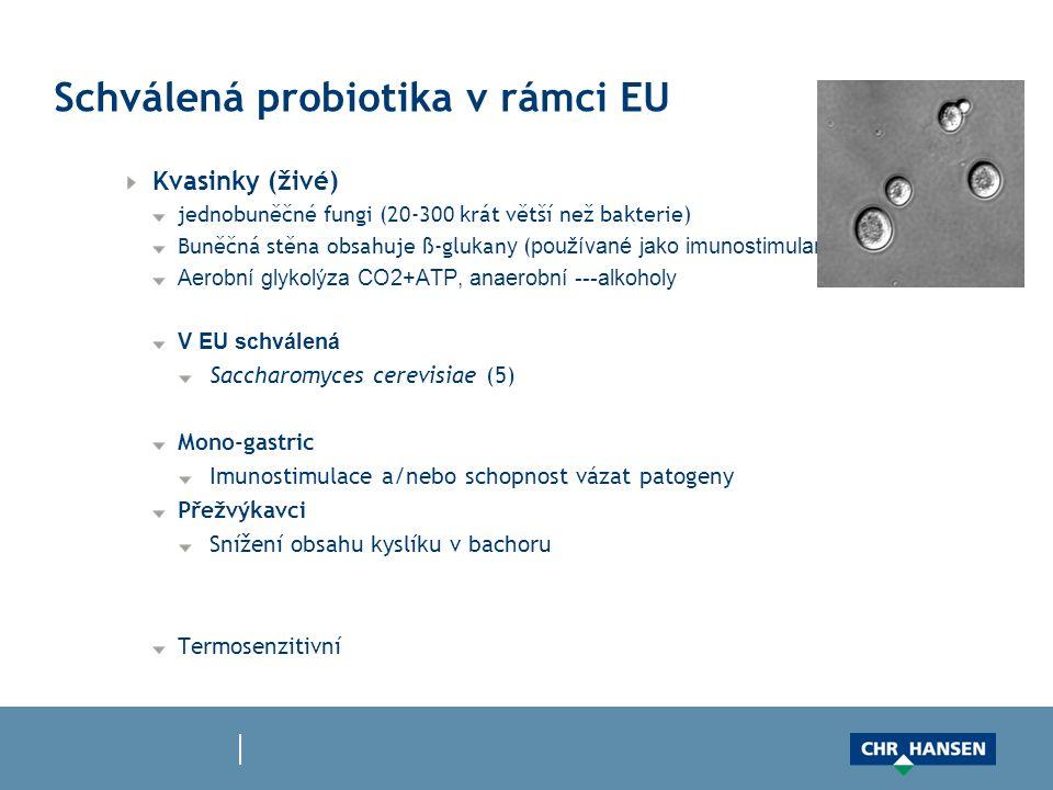 Schválená probiotika v rámci EU Kvasinky (živé) jednobuněčné fungi (20-300 krát větší než bakterie) Buněčná stěna obsahuje ß-glu k an y ( používané jako imunostimulans ) Aerobní glykolýza CO2+ATP, anaerobní ---alkoholy V EU schválená Saccharomyces cerevisiae (5) Mono-gastric Imunostimulace a/nebo schopnost vázat patogeny Přežvýkavci Snížení obsahu kyslíku v bachoru Termosenzitivní