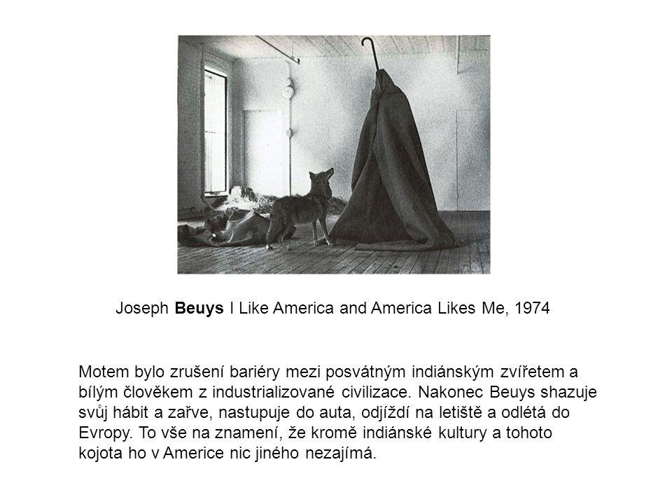 Motem bylo zrušení bariéry mezi posvátným indiánským zvířetem a bílým člověkem z industrializované civilizace. Nakonec Beuys shazuje svůj hábit a zařv