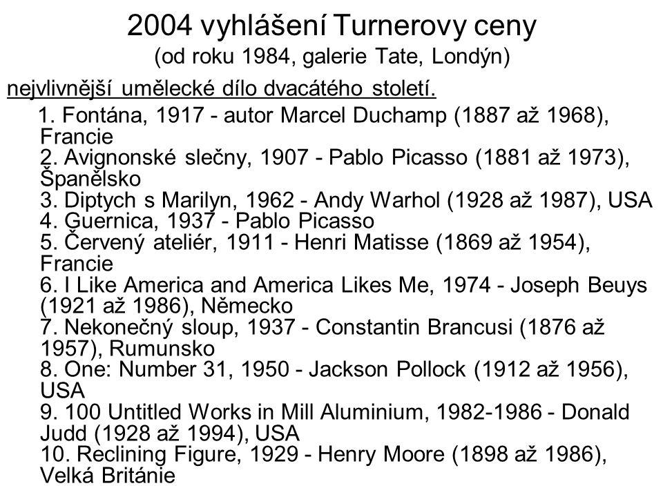 2004 vyhlášení Turnerovy ceny (od roku 1984, galerie Tate, Londýn) nejvlivnější umělecké dílo dvacátého století. 1. Fontána, 1917 - autor Marcel Ducha