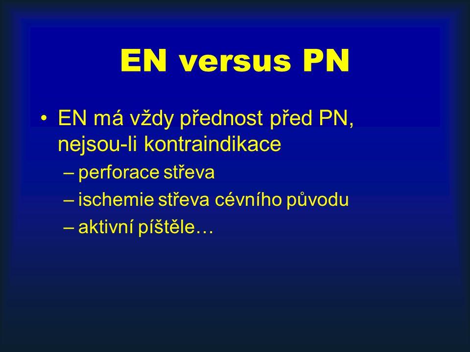 EN versus PN EN má vždy přednost před PN, nejsou-li kontraindikace –perforace střeva –ischemie střeva cévního původu –aktivní píštěle…