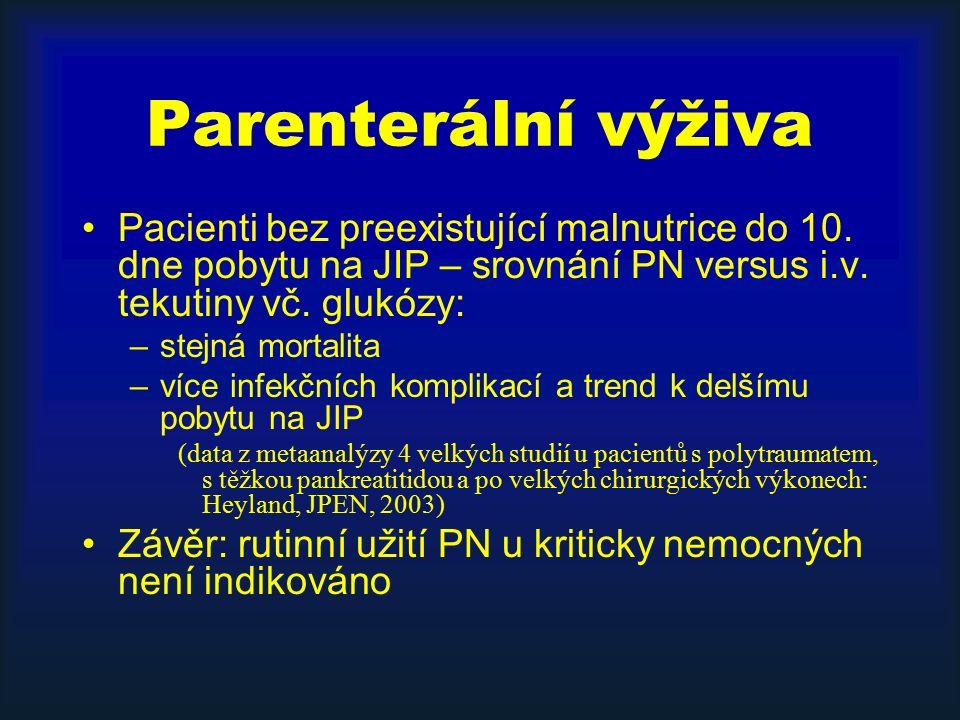 Parenterální výživa Pacienti bez preexistující malnutrice do 10.