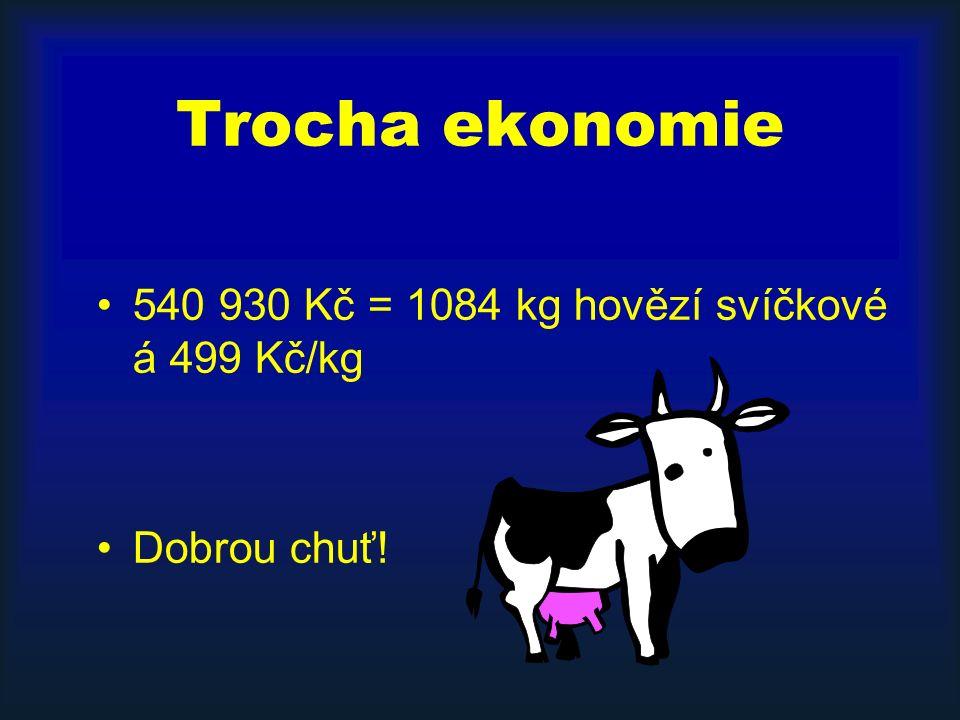 Trocha ekonomie 540 930 Kč = 1084 kg hovězí svíčkové á 499 Kč/kg Dobrou chuť!