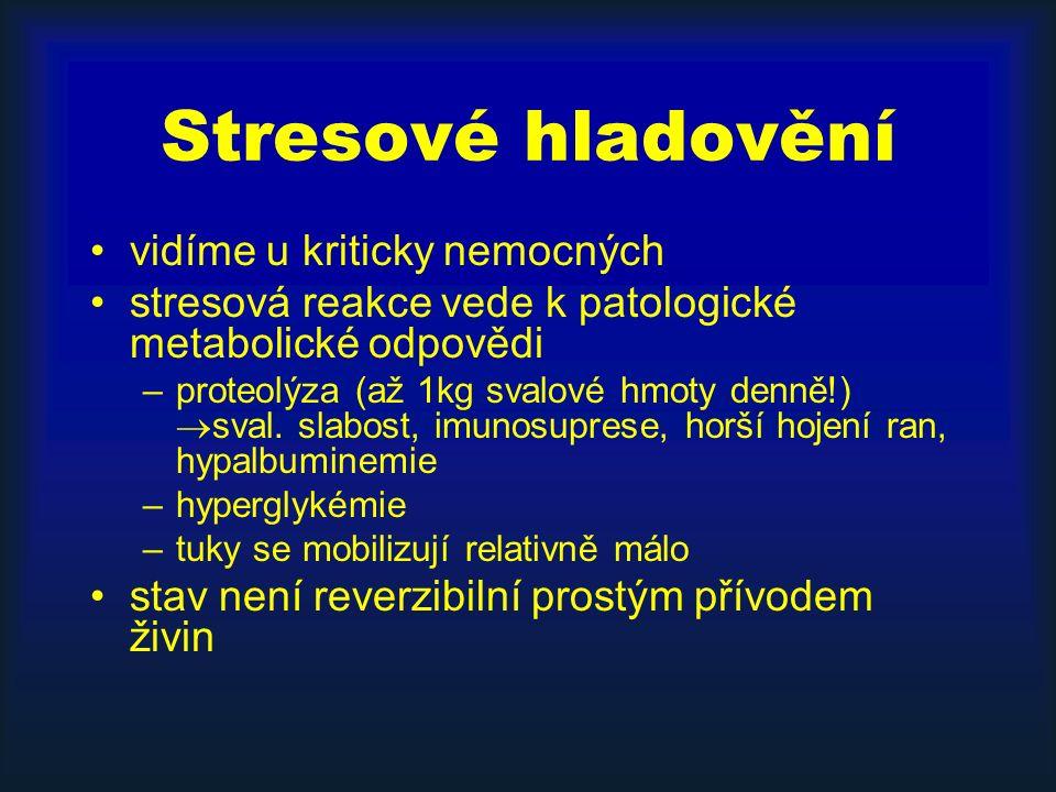 Stresové hladovění vidíme u kriticky nemocných stresová reakce vede k patologické metabolické odpovědi –proteolýza (až 1kg svalové hmoty denně!)  sval.