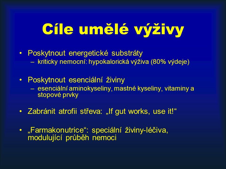 """Cíle umělé výživy Poskytnout energetické substráty –kriticky nemocní: hypokalorická výživa (80% výdeje) Poskytnout esenciální živiny –esenciální aminokyseliny, mastné kyseliny, vitaminy a stopové prvky Zabránit atrofii střeva: """"If gut works, use it! """"Farmakonutrice : speciální živiny-léčiva, modulující průběh nemoci"""