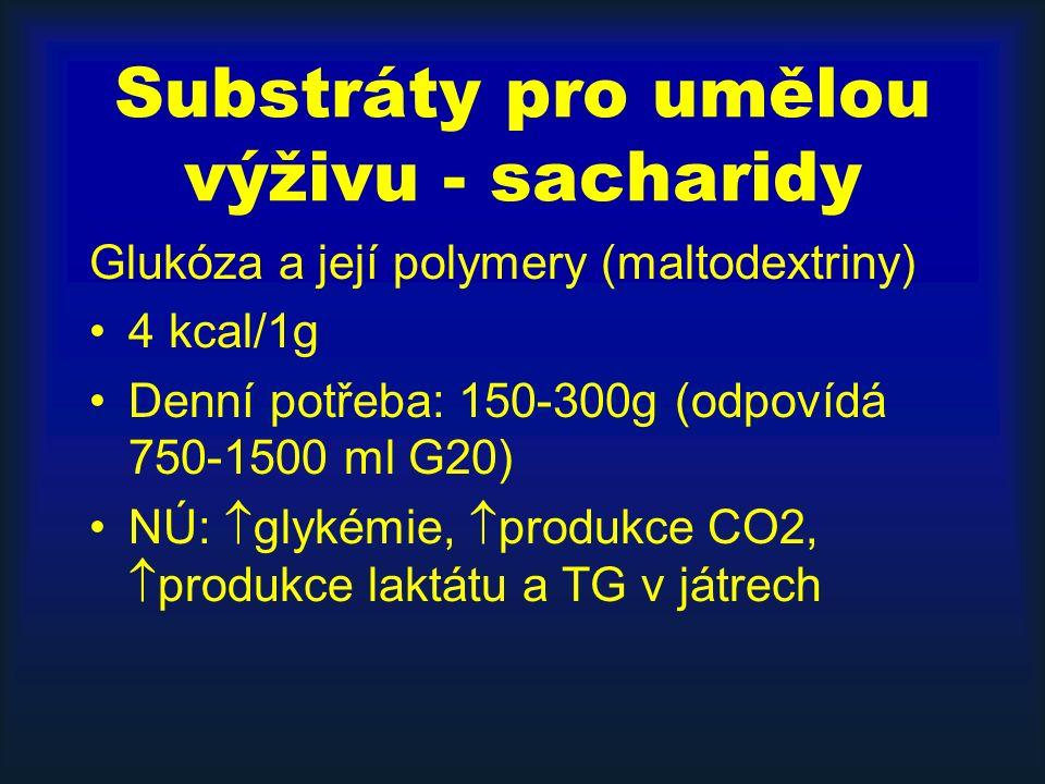 Substráty pro umělou výživu - sacharidy Glukóza a její polymery (maltodextriny) 4 kcal/1g Denní potřeba: 150-300g (odpovídá 750-1500 ml G20) NÚ:  glykémie,  produkce CO2,  produkce laktátu a TG v játrech