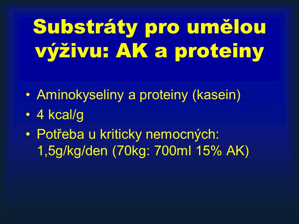 Substráty pro umělou výživu: AK a proteiny Aminokyseliny a proteiny (kasein) 4 kcal/g Potřeba u kriticky nemocných: 1,5g/kg/den (70kg: 700ml 15% AK)
