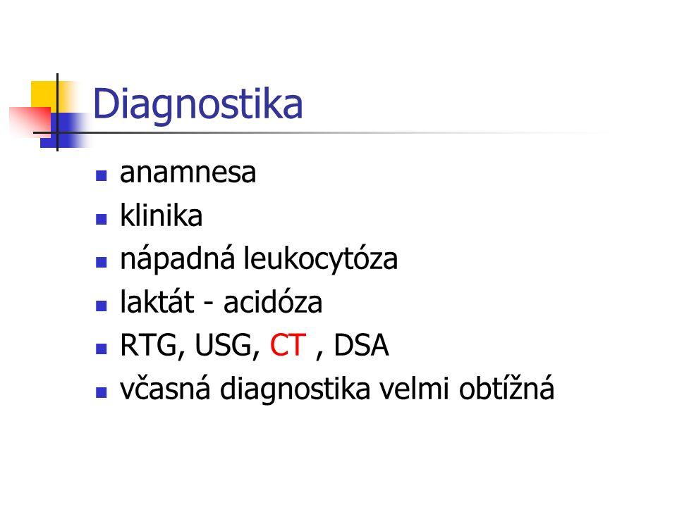Diagnostika anamnesa klinika nápadná leukocytóza laktát - acidóza RTG, USG, CT, DSA včasná diagnostika velmi obtížná