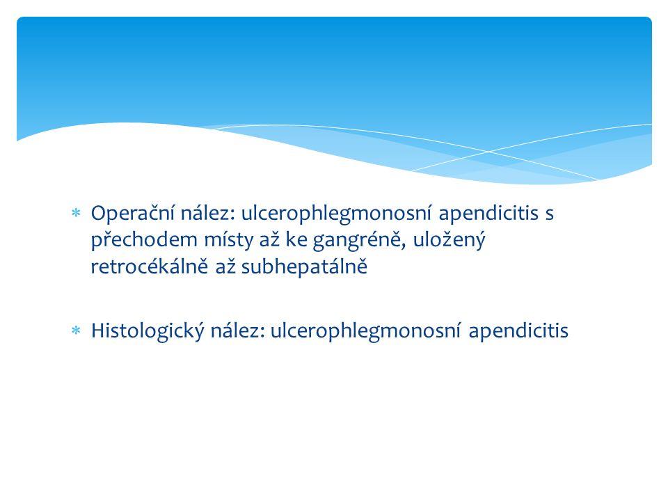  Operační nález: ulcerophlegmonosní apendicitis s přechodem místy až ke gangréně, uložený retrocékálně až subhepatálně  Histologický nález: ulcerophlegmonosní apendicitis