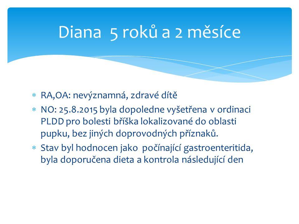  RA,OA: nevýznamná, zdravé dítě  NO: 25.8.2015 byla dopoledne vyšetřena v ordinaci PLDD pro bolesti bříška lokalizované do oblasti pupku, bez jiných doprovodných příznaků.