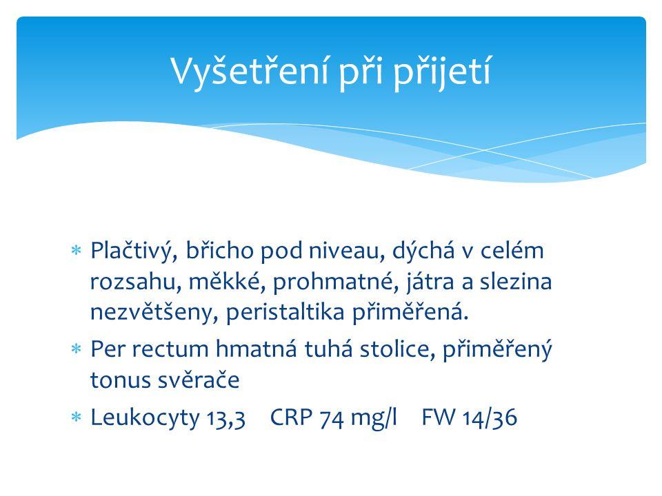  Plačtivý, břicho pod niveau, dýchá v celém rozsahu, měkké, prohmatné, játra a slezina nezvětšeny, peristaltika přiměřená.