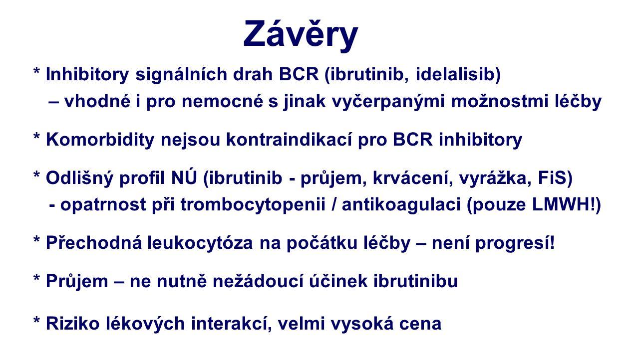 * Inhibitory signálních drah BCR (ibrutinib, idelalisib) – vhodné i pro nemocné s jinak vyčerpanými možnostmi léčby * Komorbidity nejsou kontraindikac