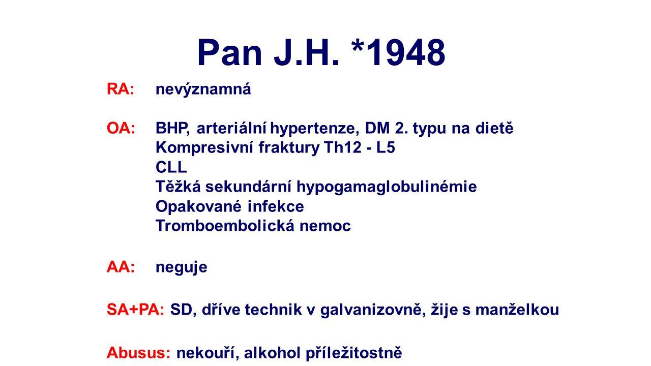 RA: nevýznamná OA: BHP, arteriální hypertenze, DM 2. typu na dietě Kompresivní fraktury Th12 - L5 CLL Těžká sekundární hypogamaglobulinémie Opakované