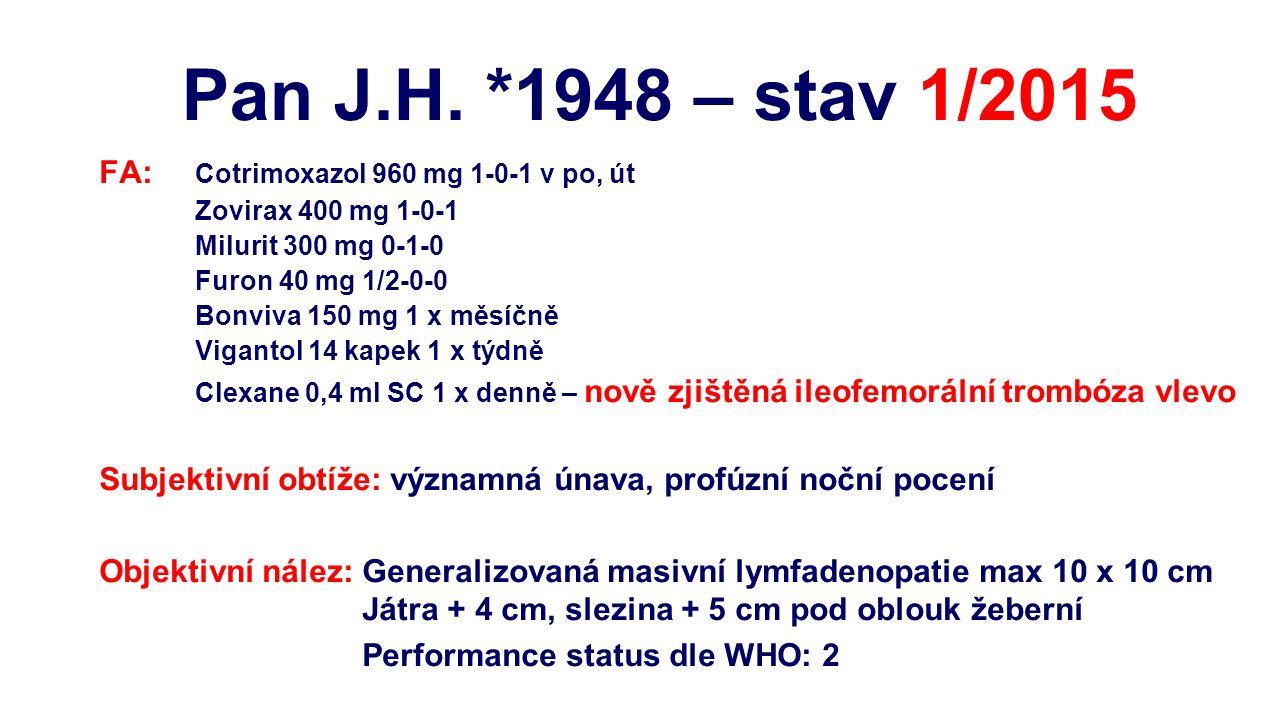 FA: Cotrimoxazol 960 mg 1-0-1 v po, út Zovirax 400 mg 1-0-1 Milurit 300 mg 0-1-0 Furon 40 mg 1/2-0-0 Bonviva 150 mg 1 x měsíčně Vigantol 14 kapek 1 x týdně Clexane 0,4 ml SC 1 x denně – nově zjištěná ileofemorální trombóza vlevo Subjektivní obtíže: významná únava, profúzní noční pocení Objektivní nález: Generalizovaná masivní lymfadenopatie max 10 x 10 cm Játra + 4 cm, slezina + 5 cm pod oblouk žeberní Performance status dle WHO: 2 Pan J.H.
