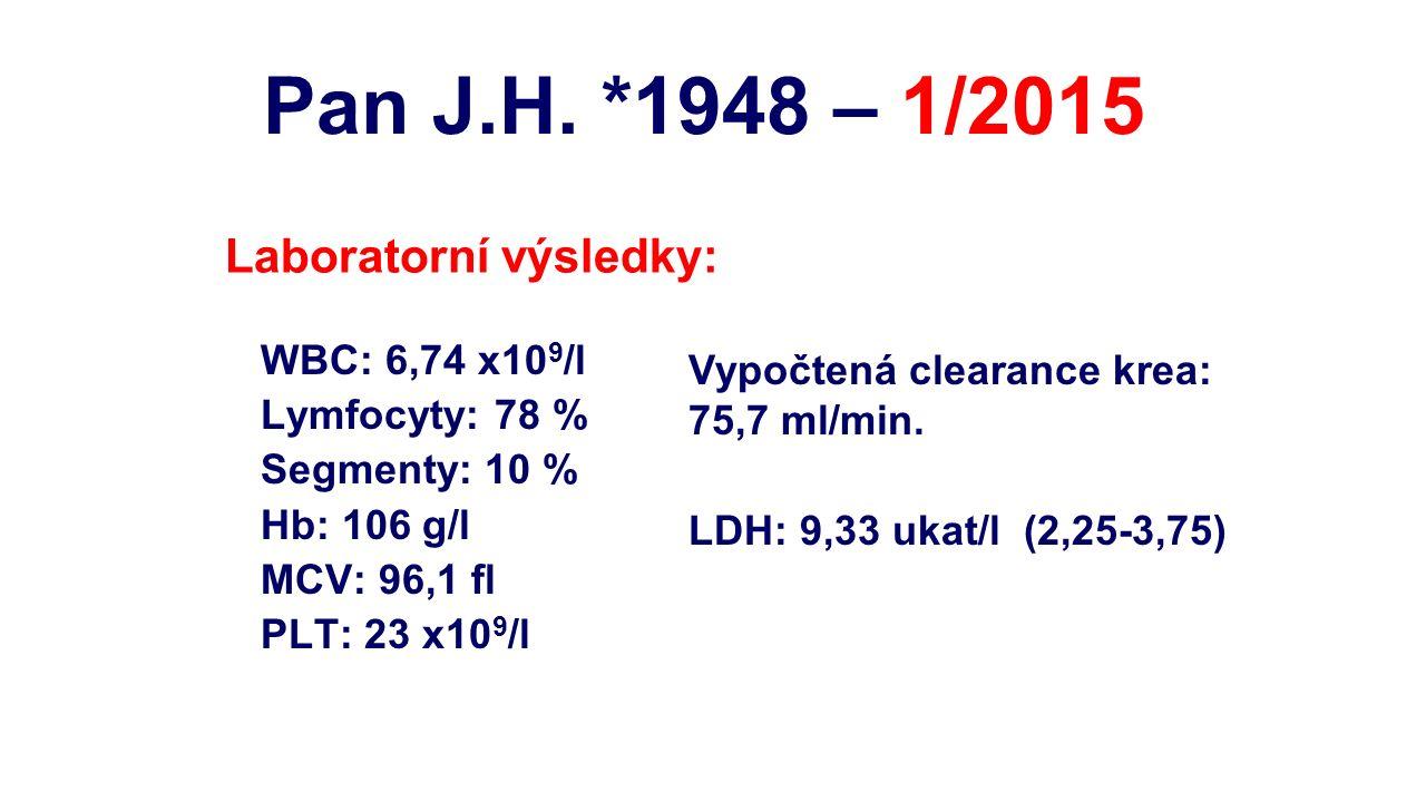 WBC: 6,74 x10 9 /l Lymfocyty: 78 % Segmenty: 10 % Hb: 106 g/l MCV: 96,1 fl PLT: 23 x10 9 /l Laboratorní výsledky: Vypočtená clearance krea: 75,7 ml/mi
