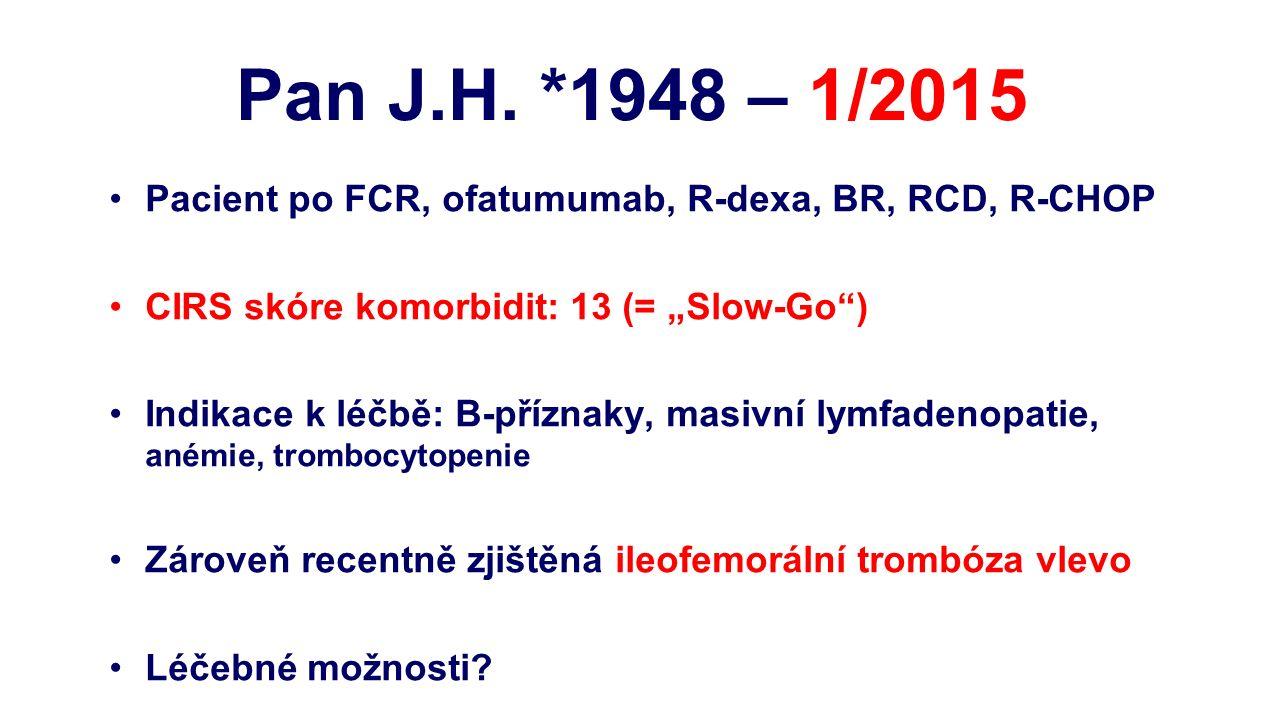 """Pacient po FCR, ofatumumab, R-dexa, BR, RCD, R-CHOP CIRS skóre komorbidit: 13 (= """"Slow-Go ) Indikace k léčbě: B-příznaky, masivní lymfadenopatie, anémie, trombocytopenie Zároveň recentně zjištěná ileofemorální trombóza vlevo Léčebné možnosti."""