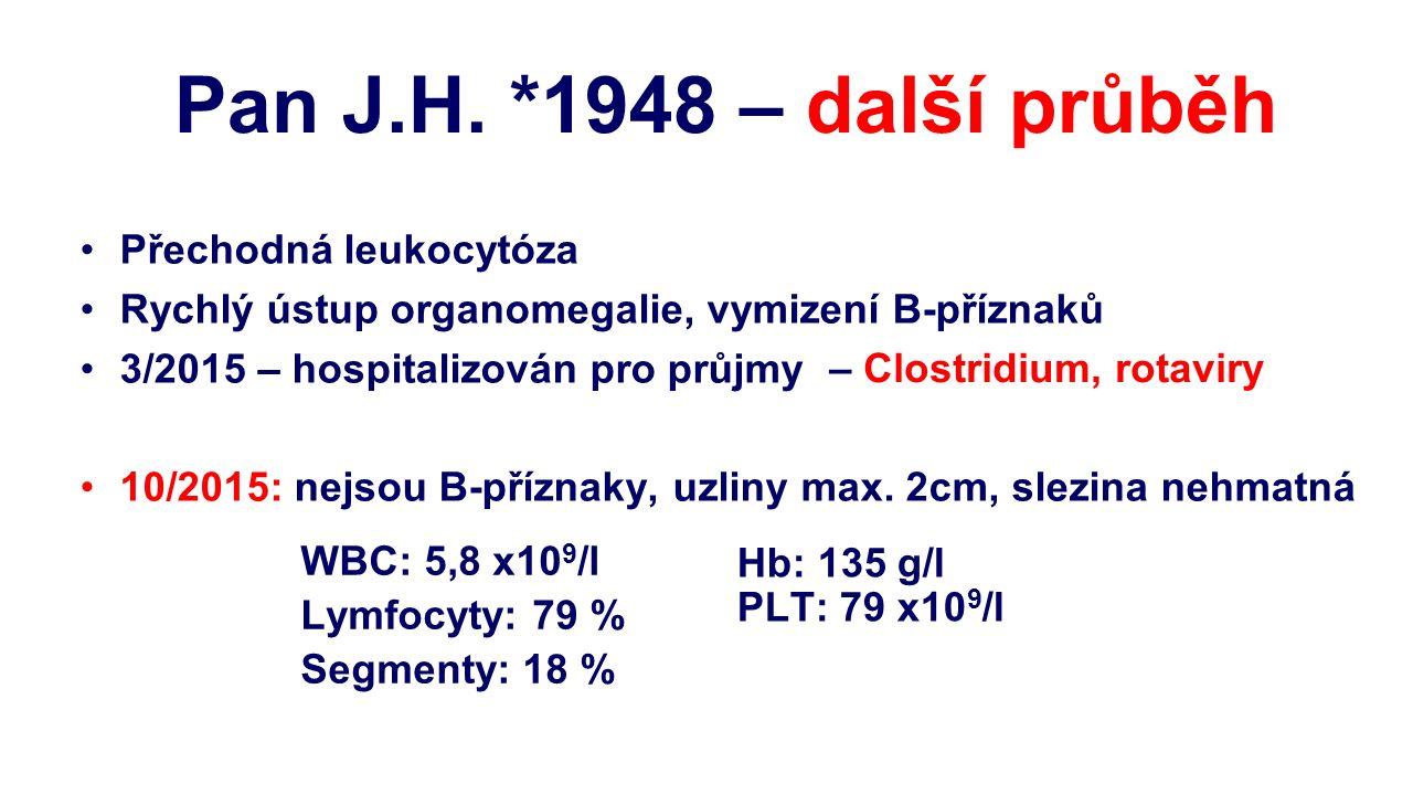Přechodná leukocytóza Rychlý ústup organomegalie, vymizení B-příznaků 3/2015 – hospitalizován pro průjmy 10/2015: nejsou B-příznaky, uzliny max. 2cm,