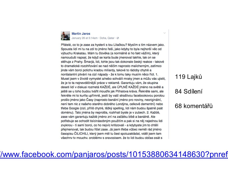 https://www.facebook.com/panjaros/posts/10153880634148630?pnref=story 119 Lajků 84 Sdílení 68 komentářů