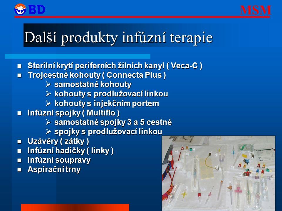MSM 21 Další produkty infúzní terapie Sterilní krytí periferních žilních kanyl ( Veca-C ) Sterilní krytí periferních žilních kanyl ( Veca-C ) Trojcestné kohouty ( Connecta Plus ) Trojcestné kohouty ( Connecta Plus )  samostatné kohouty  kohouty s prodlužovací linkou  kohouty s injekčním portem Infúzní spojky ( Multiflo ) Infúzní spojky ( Multiflo )  samostatné spojky 3 a 5 cestné  spojky s prodlužovací linkou Uzávěry ( zátky ) Uzávěry ( zátky ) Infúzní hadičky ( linky ) Infúzní hadičky ( linky ) Infúzní soupravy Infúzní soupravy Aspirační trny Aspirační trny