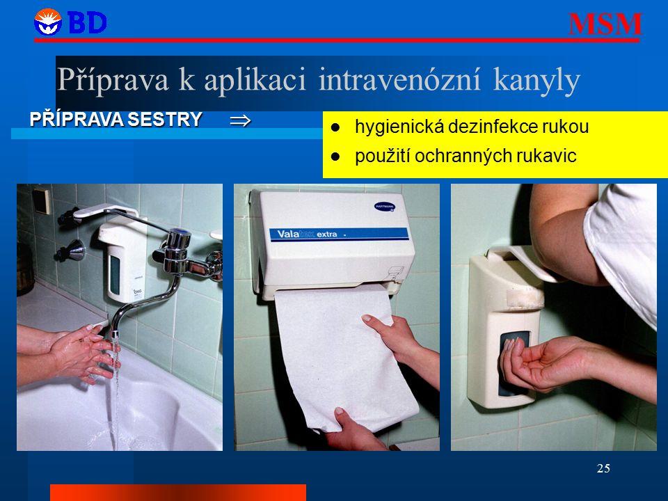 MSM 25 PŘÍPRAVA SESTRY  hygienická dezinfekce rukou použití ochranných rukavic Příprava k aplikaci intravenózní kanyly