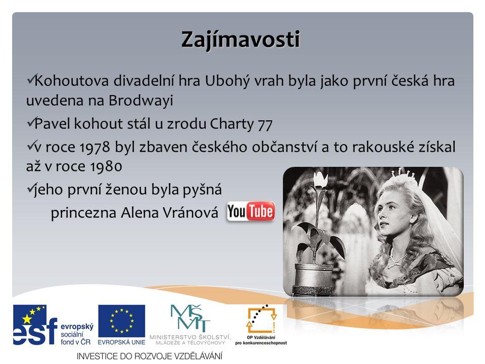 Zajímavosti Kohoutova divadelní hra Ubohý vrah byla jako první česká hra uvedena na Brodwayi Pavel kohout stál u zrodu Charty 77 v roce 1978 byl zbaven českého občanství a to rakouské získal až v roce 1980 jeho první ženou byla pyšná princezna Alena Vránová