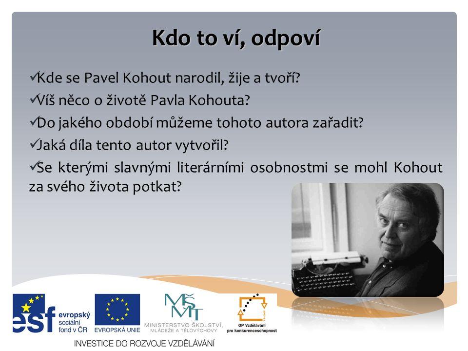 Kdo to ví, odpoví Kde se Pavel Kohout narodil, žije a tvoří.