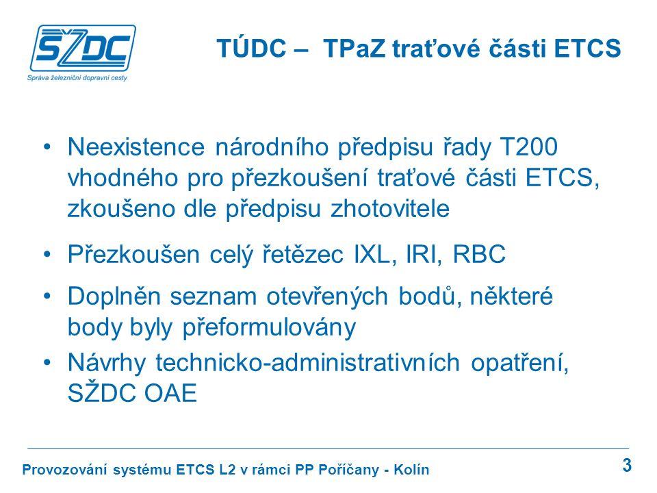 3 Provozování systému ETCS L2 v rámci PP Poříčany - Kolín TÚDC – TPaZ traťové části ETCS Neexistence národního předpisu řady T200 vhodného pro přezkou