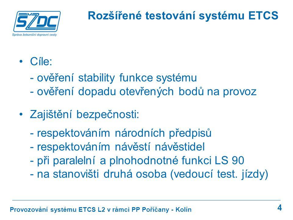 """5 Provozování systému ETCS L2 v rámci PP Poříčany - Kolín Rozšířené testování systému ETCS Uzavřený kohout k šoupátku EMV ovládanému palubní částí ETCS STM LS zapínáno do polohy """"SERVIS Není testována spolupráce ETCS a AVV Testován přenos čísla vlaku z DMI do hlasové radiostanice RBC není trvale obsazena zaměstnancem: - zadávání jen některých pomalých jízd - problém při poruchách RBC"""
