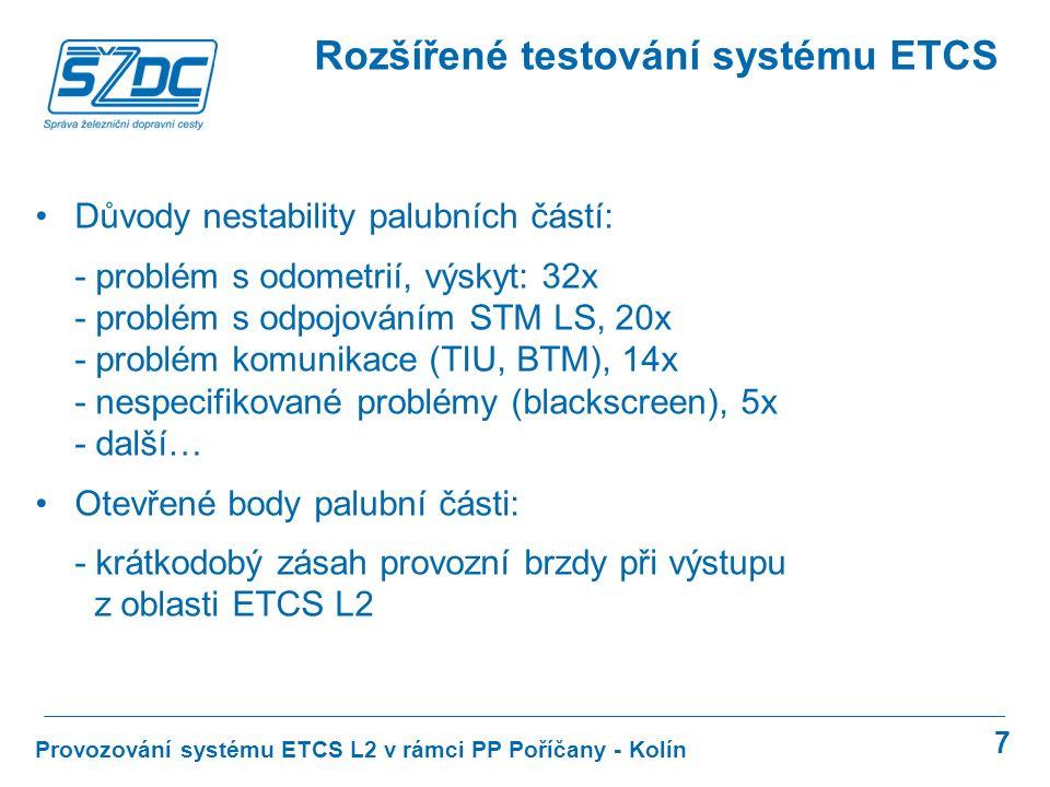 7 Provozování systému ETCS L2 v rámci PP Poříčany - Kolín Rozšířené testování systému ETCS Důvody nestability palubních částí: - problém s odometrií,