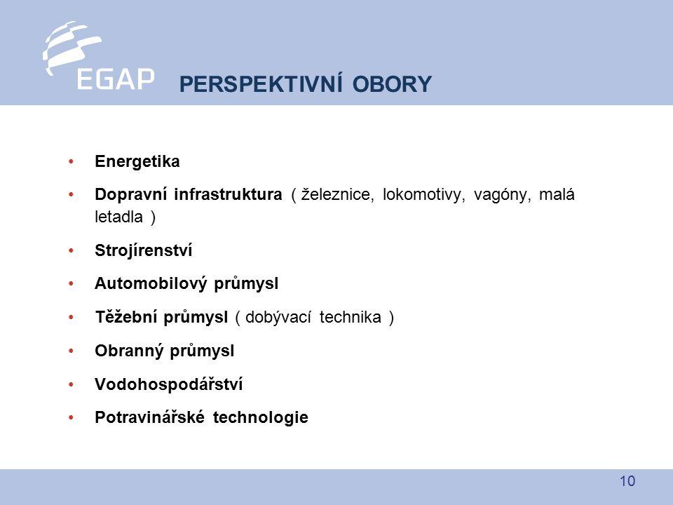 10 Energetika Dopravní infrastruktura ( železnice, lokomotivy, vagóny, malá letadla ) Strojírenství Automobilový průmysl Těžební průmysl ( dobývací te