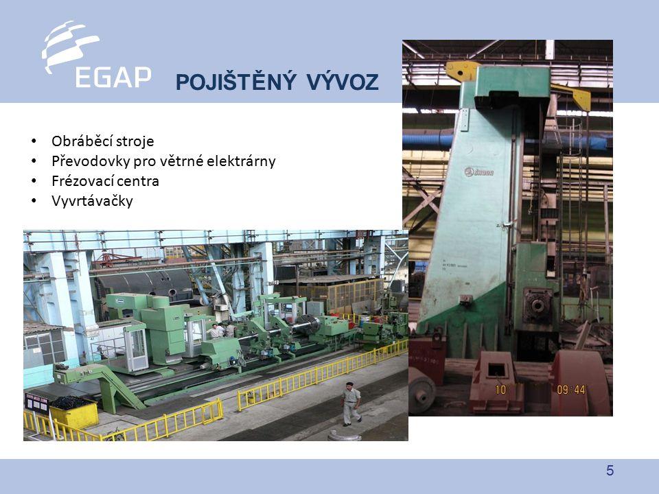 5 POJIŠTĚNÝ VÝVOZ Obráběcí stroje Převodovky pro větrné elektrárny Frézovací centra Vyvrtávačky