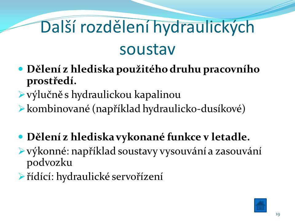 Další rozdělení hydraulických soustav Dělení z hlediska použitého druhu pracovního prostředí.