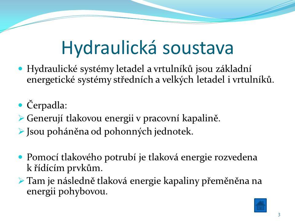 Hydraulická soustava Hydraulické systémy letadel a vrtulníků jsou základní energetické systémy středních a velkých letadel i vrtulníků.