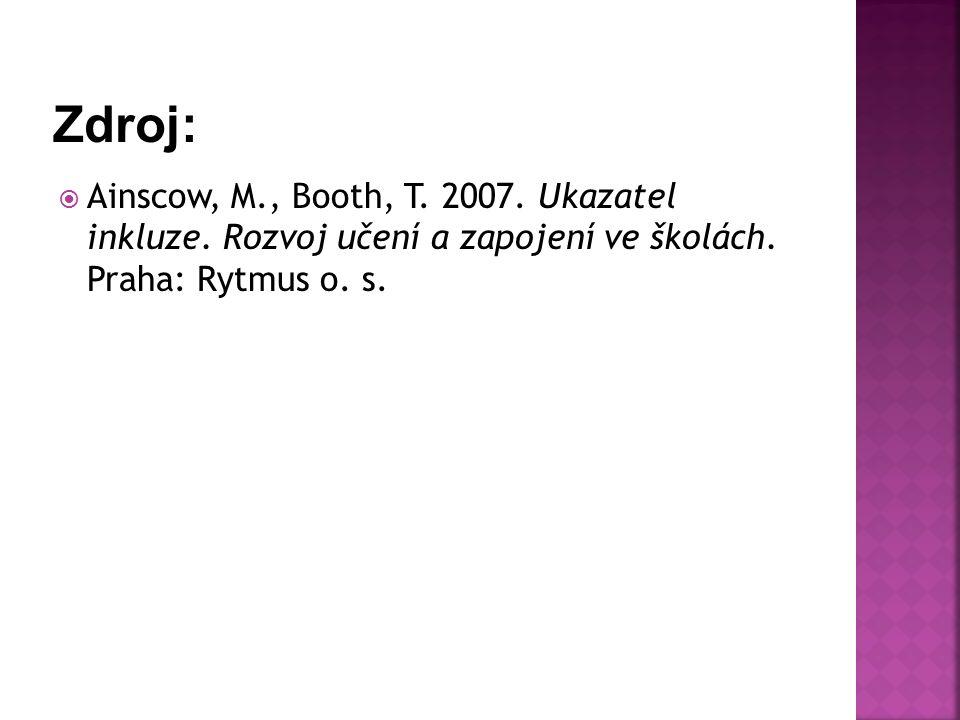  Ainscow, M., Booth, T. 2007. Ukazatel inkluze. Rozvoj učení a zapojení ve školách. Praha: Rytmus o. s.
