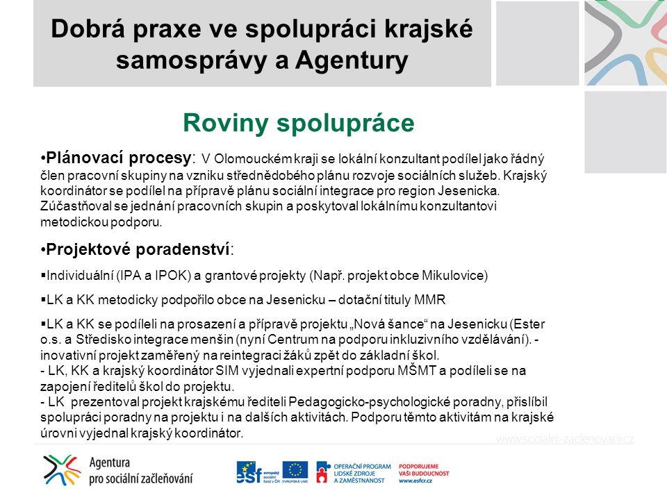 Roviny spolupráce Plánovací procesy: V Olomouckém kraji se lokální konzultant podílel jako řádný člen pracovní skupiny na vzniku střednědobého plánu rozvoje sociálních služeb.