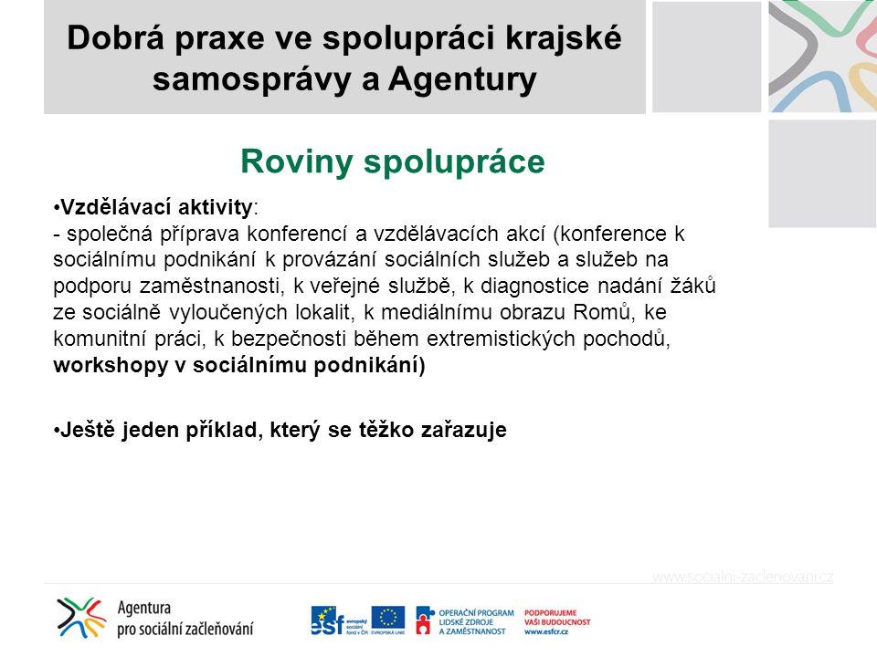 Roviny spolupráce Vzdělávací aktivity: - společná příprava konferencí a vzdělávacích akcí (konference k sociálnímu podnikání k provázání sociálních služeb a služeb na podporu zaměstnanosti, k veřejné službě, k diagnostice nadání žáků ze sociálně vyloučených lokalit, k mediálnímu obrazu Romů, ke komunitní práci, k bezpečnosti během extremistických pochodů, workshopy v sociálnímu podnikání) Ještě jeden příklad, který se těžko zařazuje Dobrá praxe ve spolupráci krajské samosprávy a Agentury