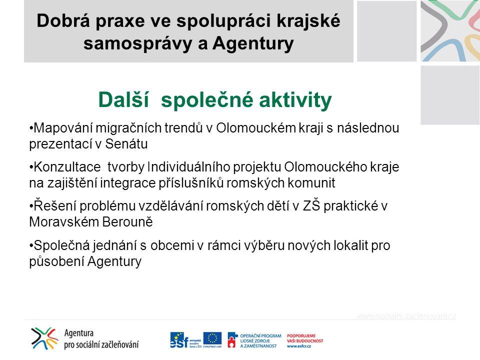 Další společné aktivity Mapování migračních trendů v Olomouckém kraji s následnou prezentací v Senátu Konzultace tvorby Individuálního projektu Olomou