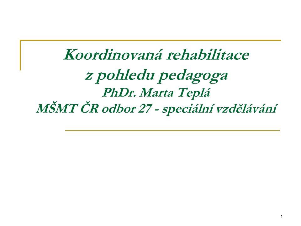 Koordinovaná rehabilitace z pohledu pedagoga PhDr.