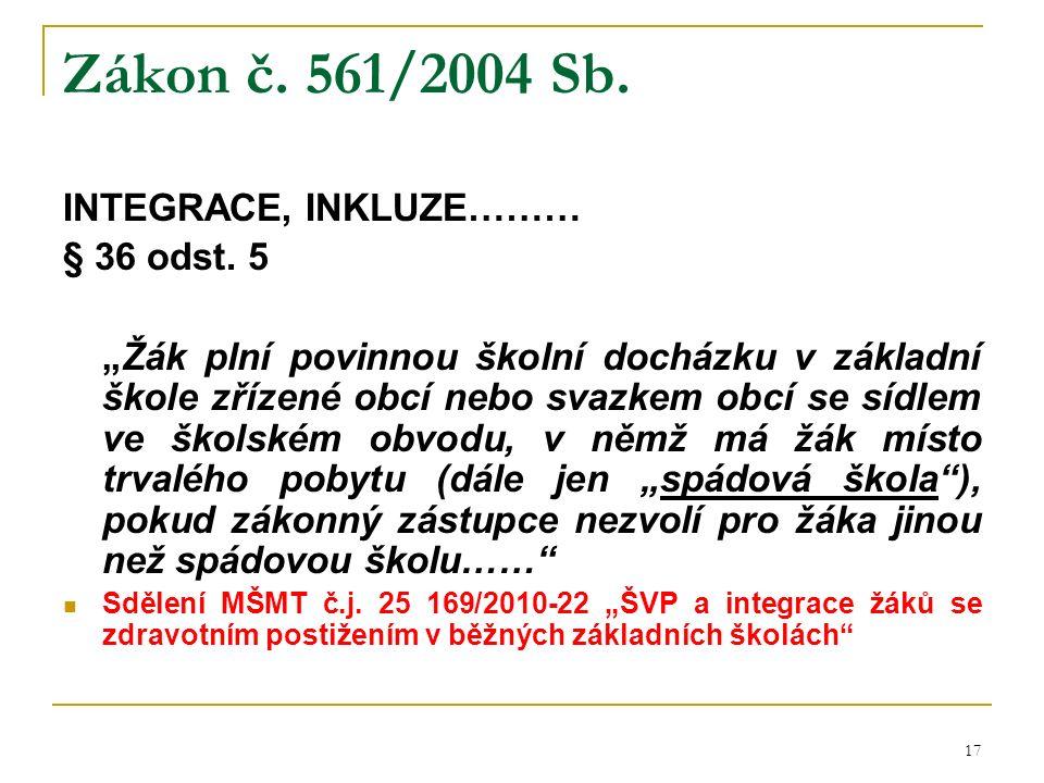 Zákon č. 561/2004 Sb. INTEGRACE, INKLUZE……… § 36 odst.
