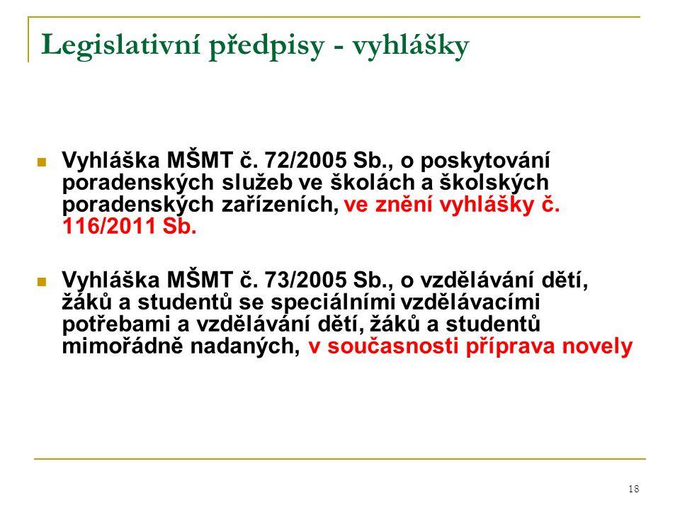 Legislativní předpisy - vyhlášky Vyhláška MŠMT č.